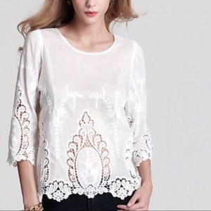 Cynthia Rowley Sheer Crochet Cut Out Top